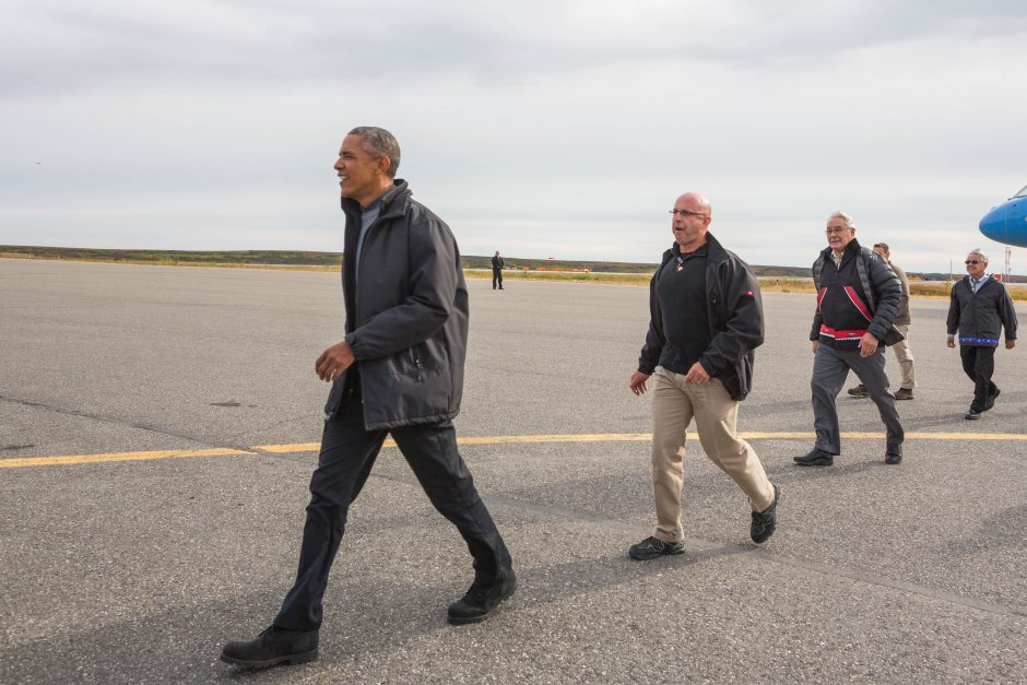 President Obama walks across the tarmac at the Kotzebue airport after arriving in the northwest Alaska community on Wednesday, September 2, 2015. ( Loren Holmes / Alaska Dispatch News)