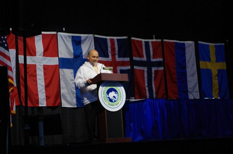 Rex Rock speaks at the Arctic Energy Summit. (Mia Bennett)