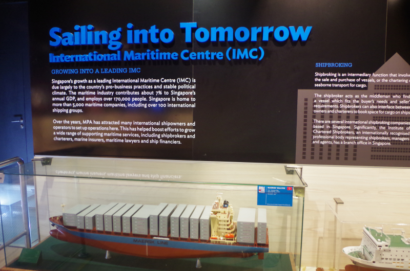 """Singapore is """"sailing into tomorrow,"""" as an exhibit at the Singapore Maritime Gallery proclaims. (Mia Bennett)"""