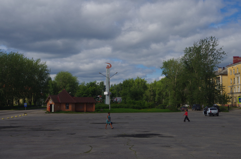 The main square in Segezha, Republic of Karelia, Russia, where the main street is still named after Lenin. August 2015. (Mia Bennett)