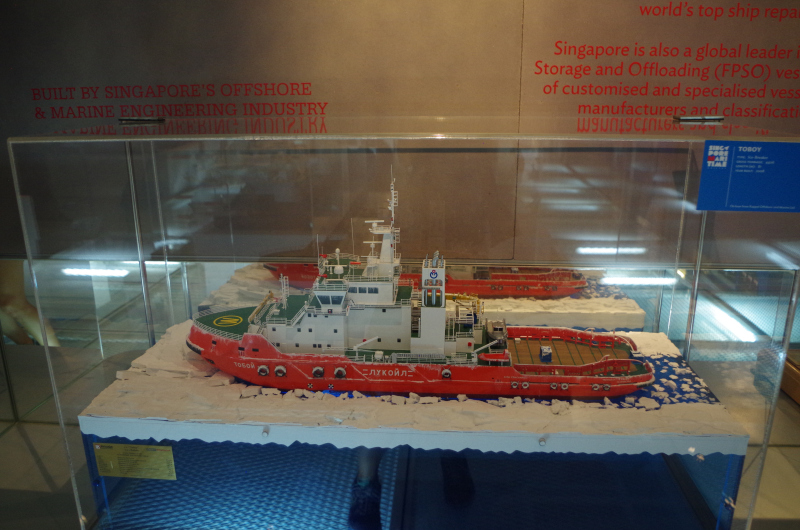 A model of the icebreaker Singmarine built for Lukoil, on display at the Singapore Maritime Gallery. (Mia Bennett)