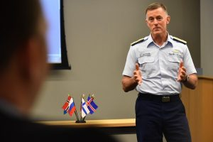 U.S. Coast Guard Commandant Adm. Paul Zukunft speaks during the Arctic Coast Guard Forum (ACGF), a cooperative initiative between nations with shared maritime interests in the Arctic, at U.S. Coast Guard Headquarters in Washington, March 25, 2015. (Petty Officer 2nd Class Patrick Kelley/U.S. Coast Guard)