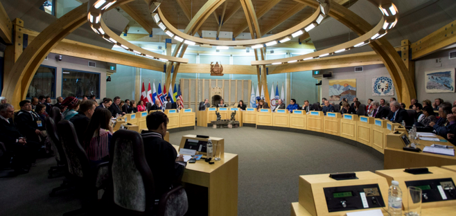 Delegates at the Arctic Council Ministerial meeting April 24, 2015 in Iqaluit, Nunavut. What kind of funding mechanism should be established in order to make the work of the Arctic Council more responsive and useful for the roughly 400,000 indigenous peoples who call the region their home?(Paul Chiasson/The Canadian Press)