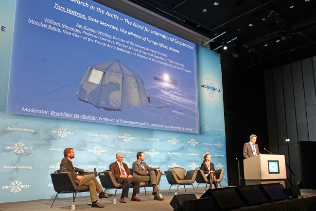 Tore Hattrem, State Secretary of Norway's Foreign Ministry, talking at the Arctic Circle 2015 conference. (Trude Pettersen/Barents Observer)