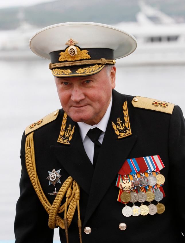Russian Northern Fleet Vice-Admiral Vladimir Korolev is seen in Severomorsk, about 1,500 kilometers north of Moscow in July 2011. (AP Photo/Andrei Pronin)