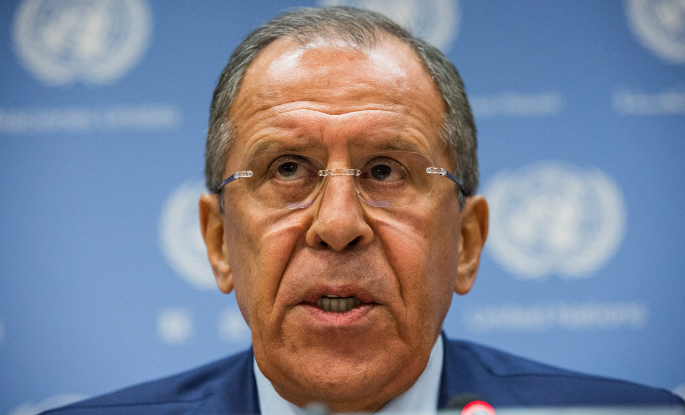 Russian Foreign Affairs Minister Sergey Lavrov speaks at a press conference at the United Nations on October 1, 2015 in New York City. Lavrov aims for enhanced cooperation with Norway and the other Barents countries during his chairmanship period in the BEAC. (Andrew Burton/Getty Images)