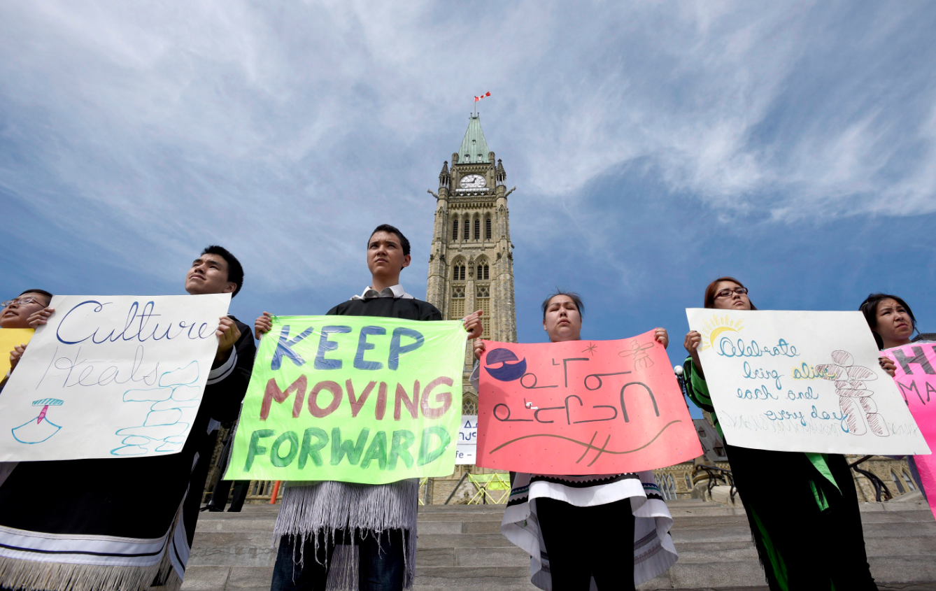 Students from the Nunavut Sivuniksavut program stand on Parliament Hill as the National Inuit Youth Council and Inuit Tapiriit Kanatami hold a Celebration of Life on World Suicide Prevention Day on Thursday, September 10, 2015, in Ottawa. (Justin Tang/The Canadian Press)