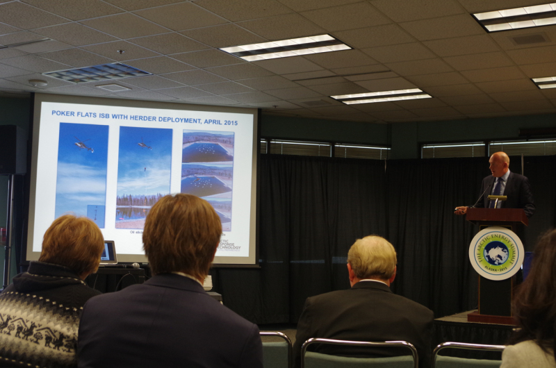 Mitch Winkler, Head of Shell's Arctic Technology Program, discussing herding oil during the Arctic Energy Summit panel. (Mia Bennett)