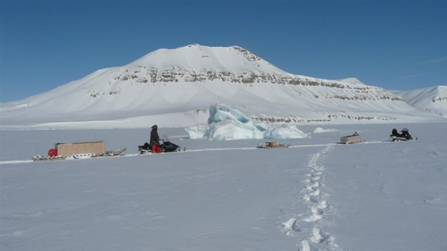 Electromagnetic imaging equipment is also towed by snowmobile to measure ice thickness. The study of conditions in the NWP is the first of its kind. ( Courtesy Christian Haas)
