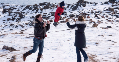 Canadian Prime Minister Justin Trudeau and his wife Sophie Gregoire-Trudeau with thier youngest son Hadrien  in the Arctic Canadian city of Iqaluit on October 10, 2015. How will the Liberal government's Arctic policy evolve in the coming year? (Paul Chiasson/The Canadian Press)