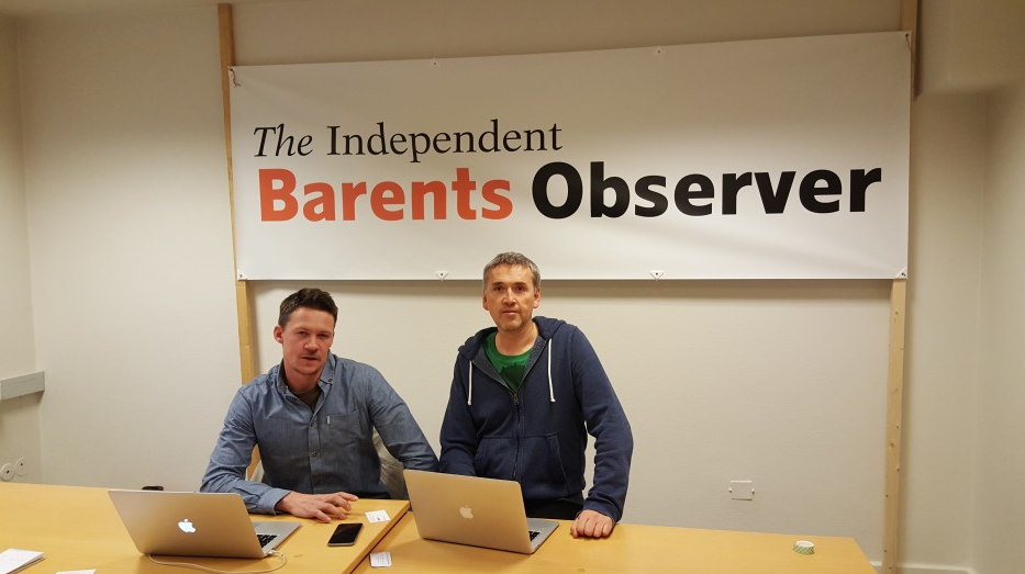 Journalist Atle Staalesen (left) and editor Thomas Nilsen (right) in the office of the Independent Barents Observer, the new crowd-funded news site they set up to cover the Barents Arctic. (Courtesy the Independent Barents Observer)