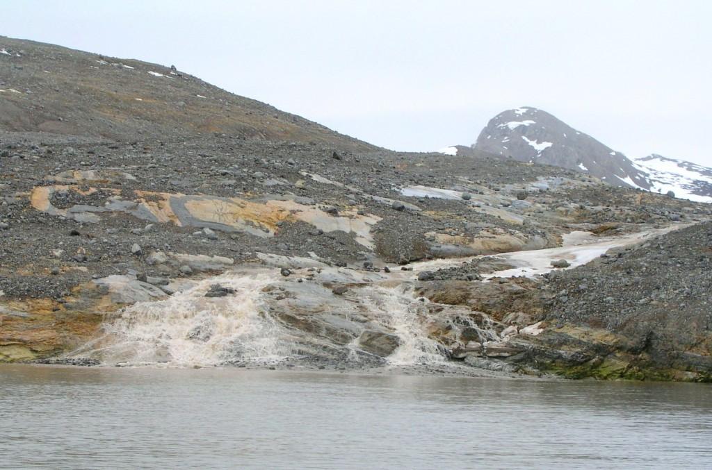 Sediment flowing into fjord near Ny Alesund, Spitsbergen (Irene Quaile)