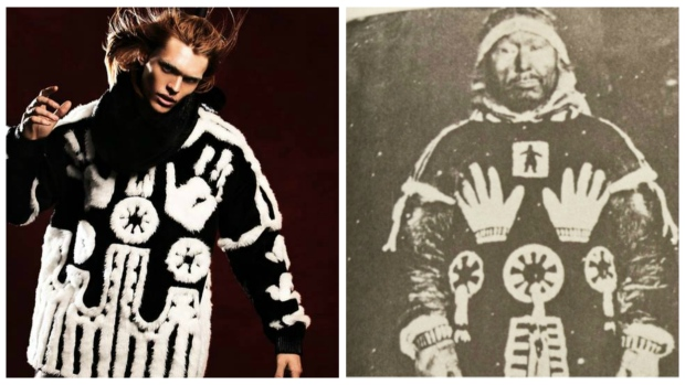 KTZ has apologized for using a sacred Inuit design in their high-end sweater. (Kieran Oudshoorn/KTZ website & from book Northern Voices/CBC)