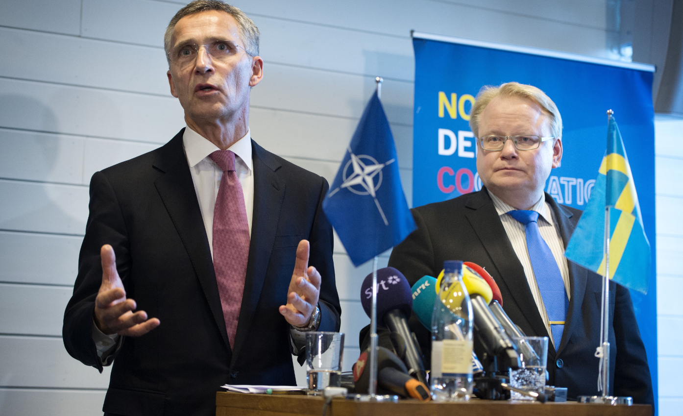 NATO General Secretary Jens Stoltenberg (L) and Sweden's Defence Minister Peter Hultqvist attend a press conference after a Nordic defence ministers meeting in Stockholm, on November 10, 2015. (Jessica Gow/AFP/Getty Images)