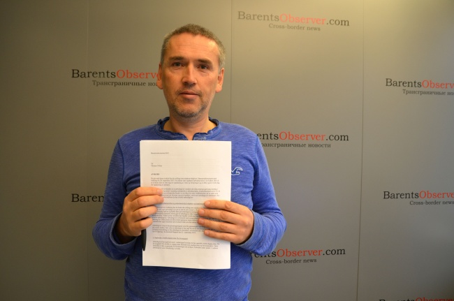 """I have done exactly what is an editor's duty - standing up for our editorial freedom,"" said Thomas Nilsen on the day he was fired from Barents Observer. (Atle Staalesen)"