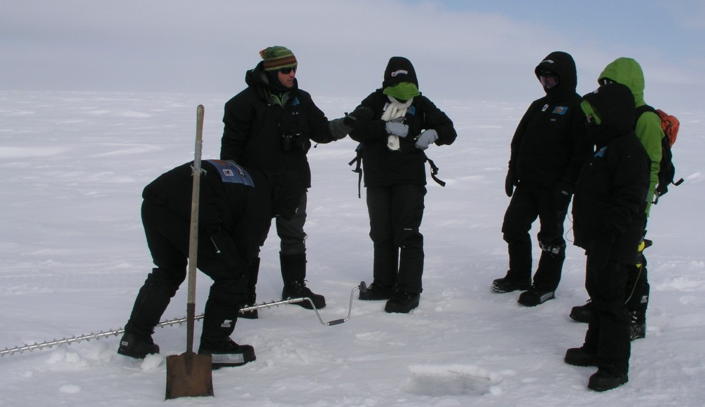 Marc Cornelissen on the sea ice at Barrow, Alaska, with CCC students, in 2008. (Irene Quaile)
