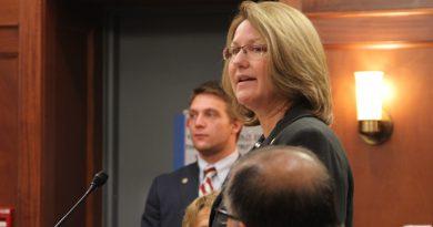 Alaska Senate Finance co-chair Anna MacKinnon (R-Eagle River) guided the bill through the Senate. She spoke on the Senate floor immediately before the vote. (Rachel Waldholz/APRN)