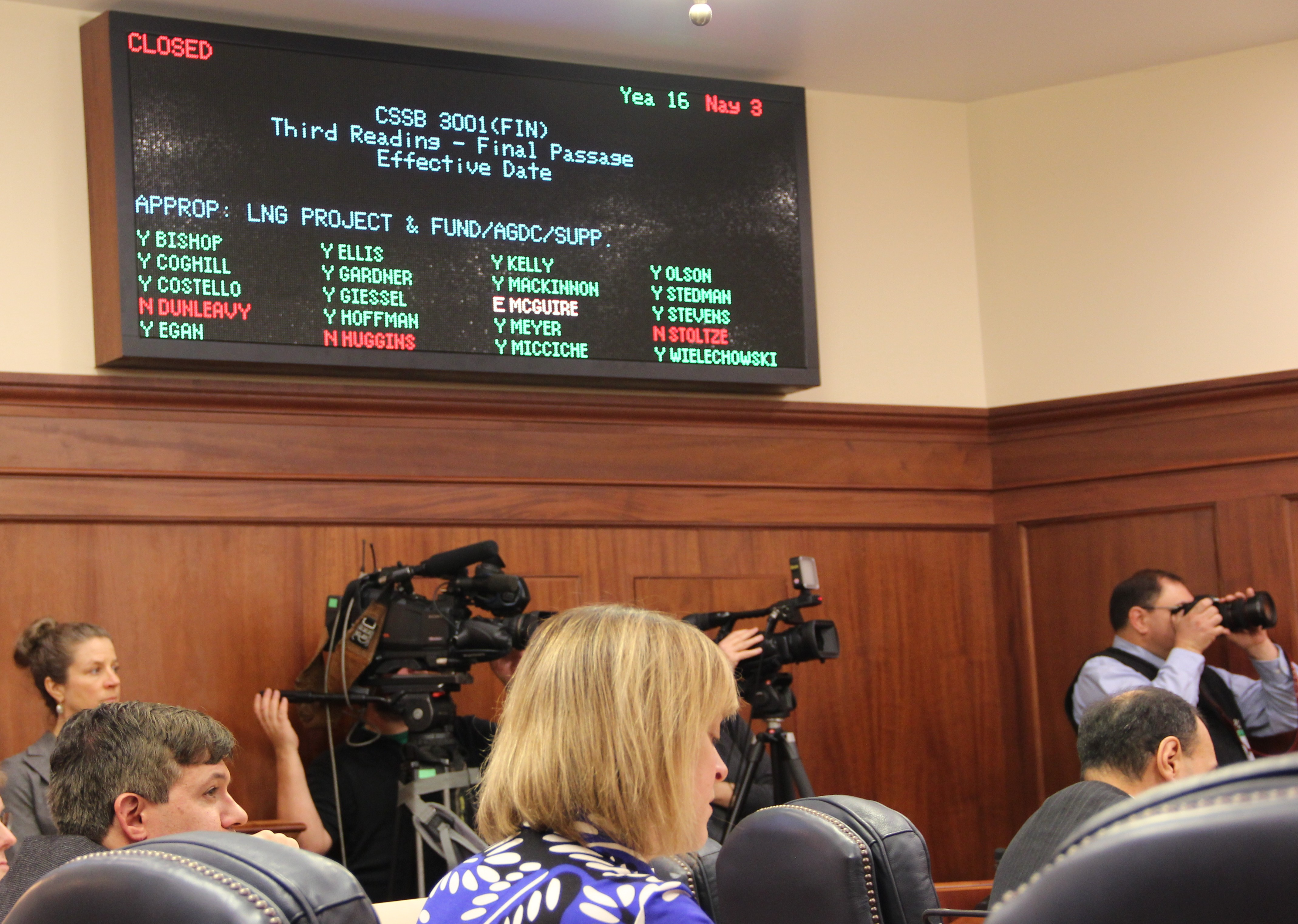 The State Senate voted 19-3 to buy out TransCanada on Nov. 3, 2015. Republican senators Mike Dunleavy and Charlie Huggins of Wasilla and Bill Stoltze of Chugiak voted no. (Rachel Waldholz/APRN)