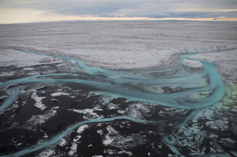The Greenland Ice Sheet melts out partly through supraglacial rivers that slowly drain it. August 2014. (Mia Bennett)