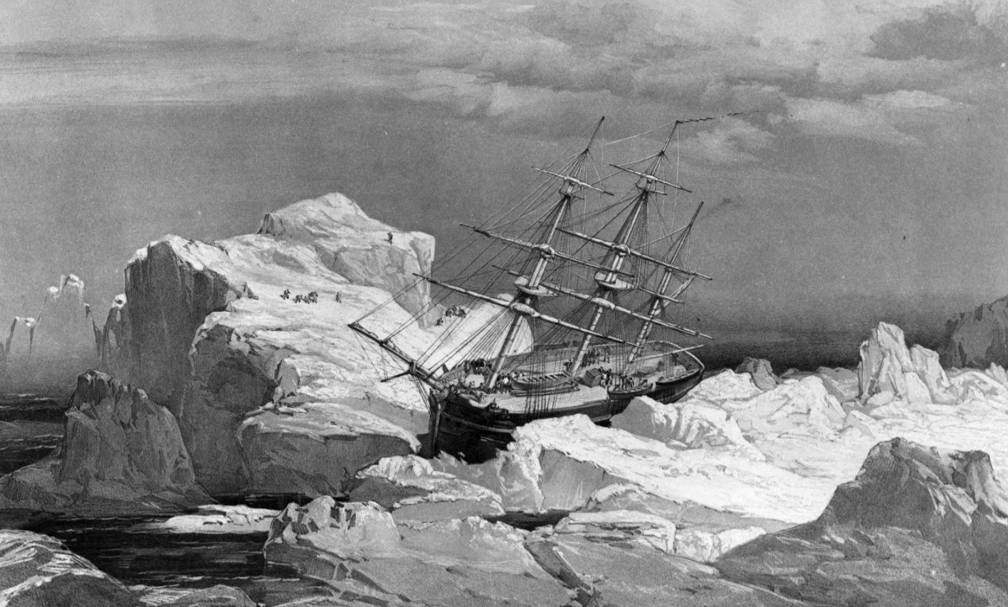 The HMS Investigator - dispatched on the search for the doomed Franklin Expedition - is stranded in ice on the north coast of Baring Island in the Arctic in this 1851 drawing. (National Archives of Canada/The Canadian Press)