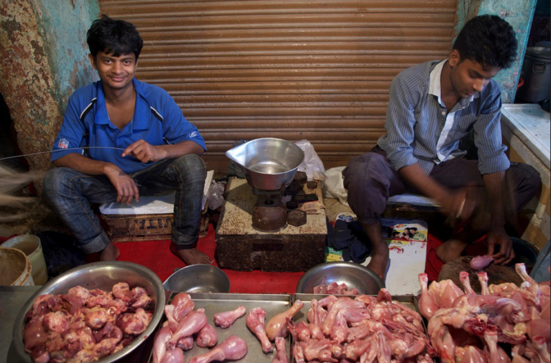 Chicken for sale at a market in New Delhi, India. Emissions from cooking and heating in Asia are the largest contributor by volume to Arctic warming. September 2013. (Mia Bennett)