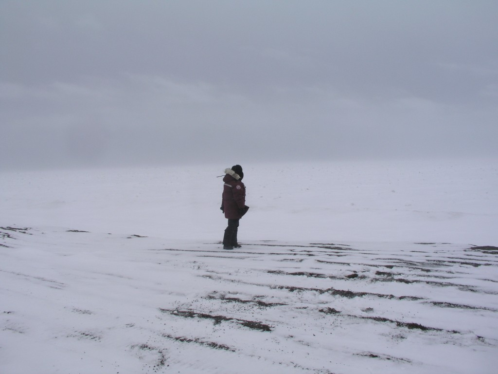 Climate change impacts: Jensen at the site of a lost Inupiat village at Point Barrow, 2008 (Irene Quaile)