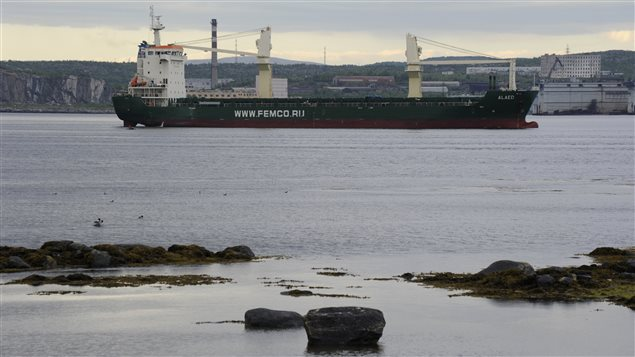 The Russian-operated ship Alaed is moored outside the northern port of Murmansk June 23, 2012. (Stringer/Reuters)