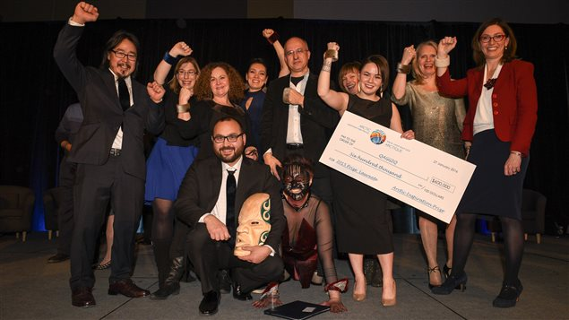 The Qaggig team celebrating its Arctic Inspiration Prize win worth $600,000. Photo Credit: Fred Cattroll/ArcticNet