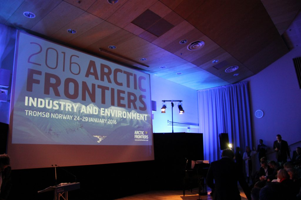 The Arctic Frontiers logo was everywhere in Tromso this week for the international gathering. (Eilis Quinn/Eye on the Arctic)