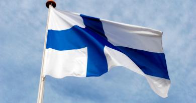 The Finnish flag flying.