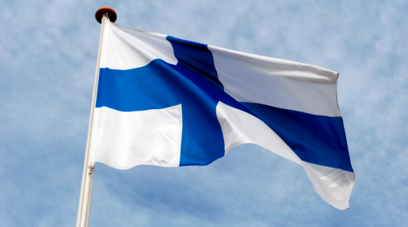 The Finnish flag flying.