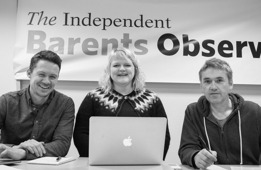 Journalists Atle Staalesen (left) & Trude Pettersen (centre), and editor Thomas Nilsen (right) in the office of the Independent Barents Observer. (Independent Barents Observer)