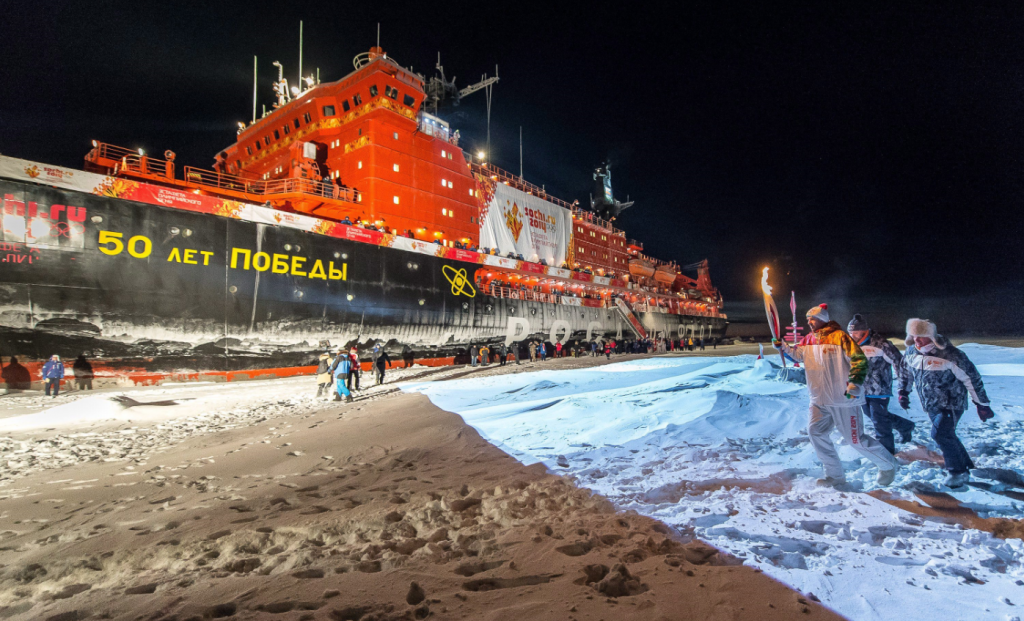 Russia's nuclear-powered icebreaker 50 Let Pobedy, pictured here in 2013 when the Olympic torch was brought to the North Pole. It set a record by sailing from Murmansk to the North Pole in just 4.5 days. (Sergei Dolya/AP)