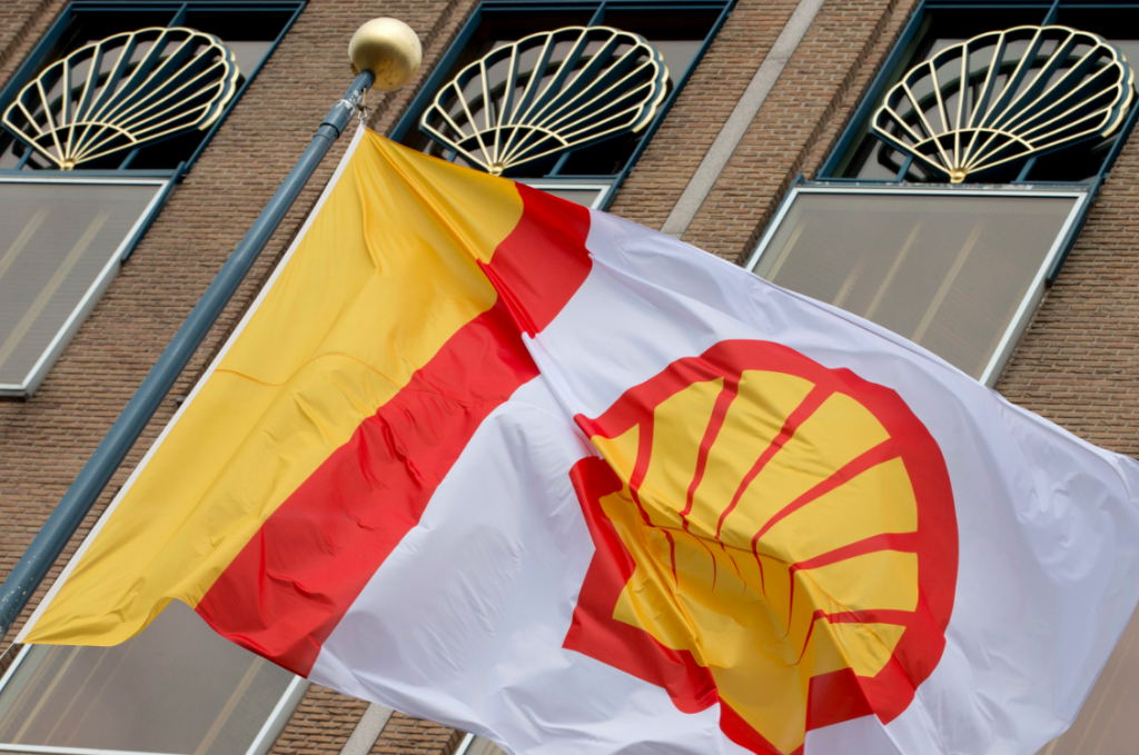 The Royal Dutch Shell logo outside the company's head office in The Hague, Netherlands.Shell has sought to extend its offshore Arctic leases in the Beaufort and Chukchi seas and in December appealed a denial of that extension. On Wednesday, a coaltion of environmental groups as to be allowed to intervene in the appeal. (Peter Dejong/File/AP)