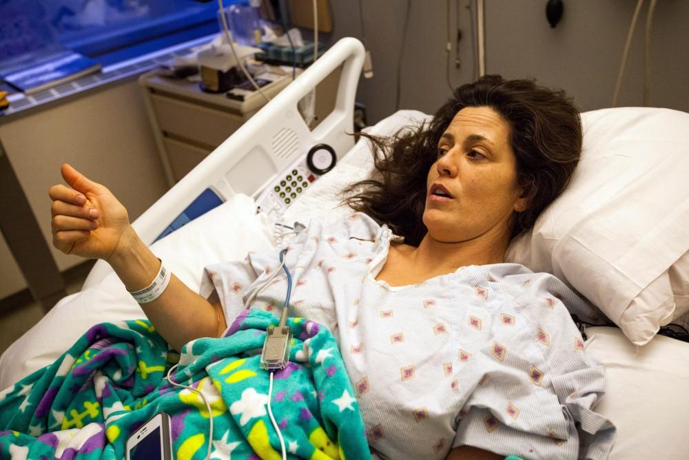 Iditarod veteran Karin Hendrickson is shown at the Providence Alaska Medical Center, Thurdsay, Nov. 27, 2014. (Tara Young/AP Photo/Alaska Dispatch News)