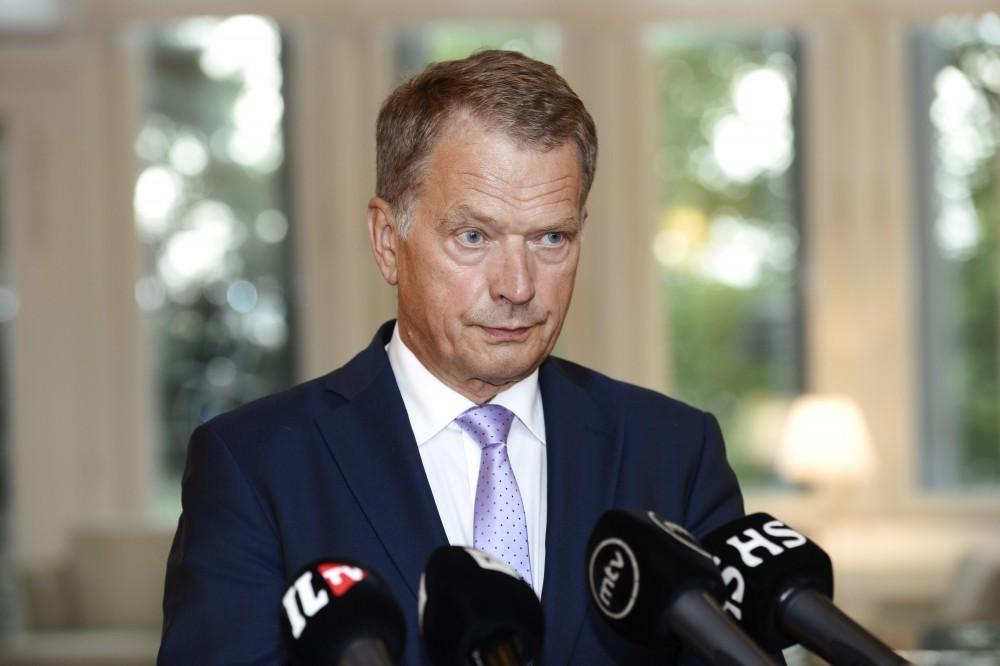 Finland's President Sauli Niinisto speaks to the media in Helsinki August 14, 2014. REUTERS/Heikki Saukkomaa/Lehtikuva