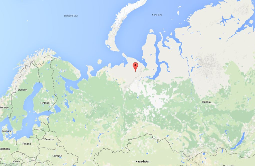 The red pin marks marks the town of Vorkuta in Russia's Komi Republic. (Google Maps)