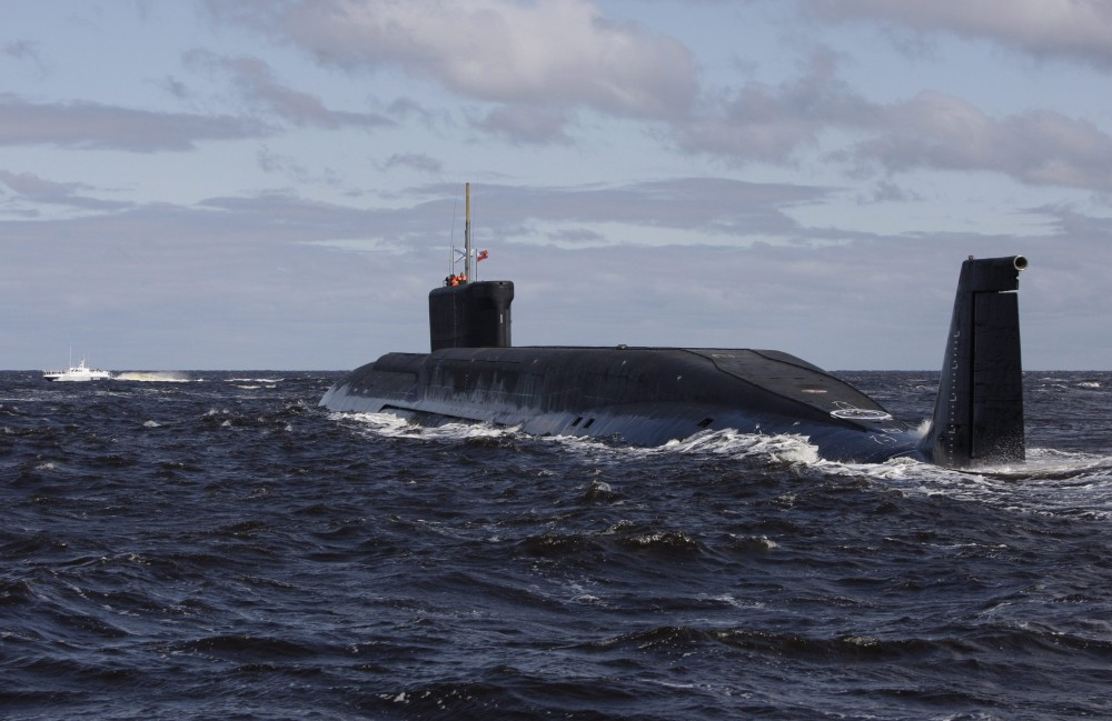This Thursday July 2, 2009 file photo, shows a new Russian nuclear submarine, Yuri Dolgoruky, near the Sevmash factory in the northern city of Arkhangelsk, Russia. (Alexander Zemlianichenko/AP Photo)