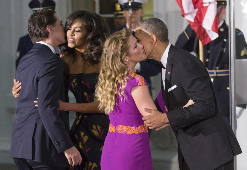 President Barack Obama and first lady Michelle Obama greet Canadian Prime Minister Justin Trudeau and Sophie Grégoire Trudeau at the North Portico of the White House in Washington, Thursday, March 10, 2016, for a state dinner. J. Scott Applewhite/AP Photo