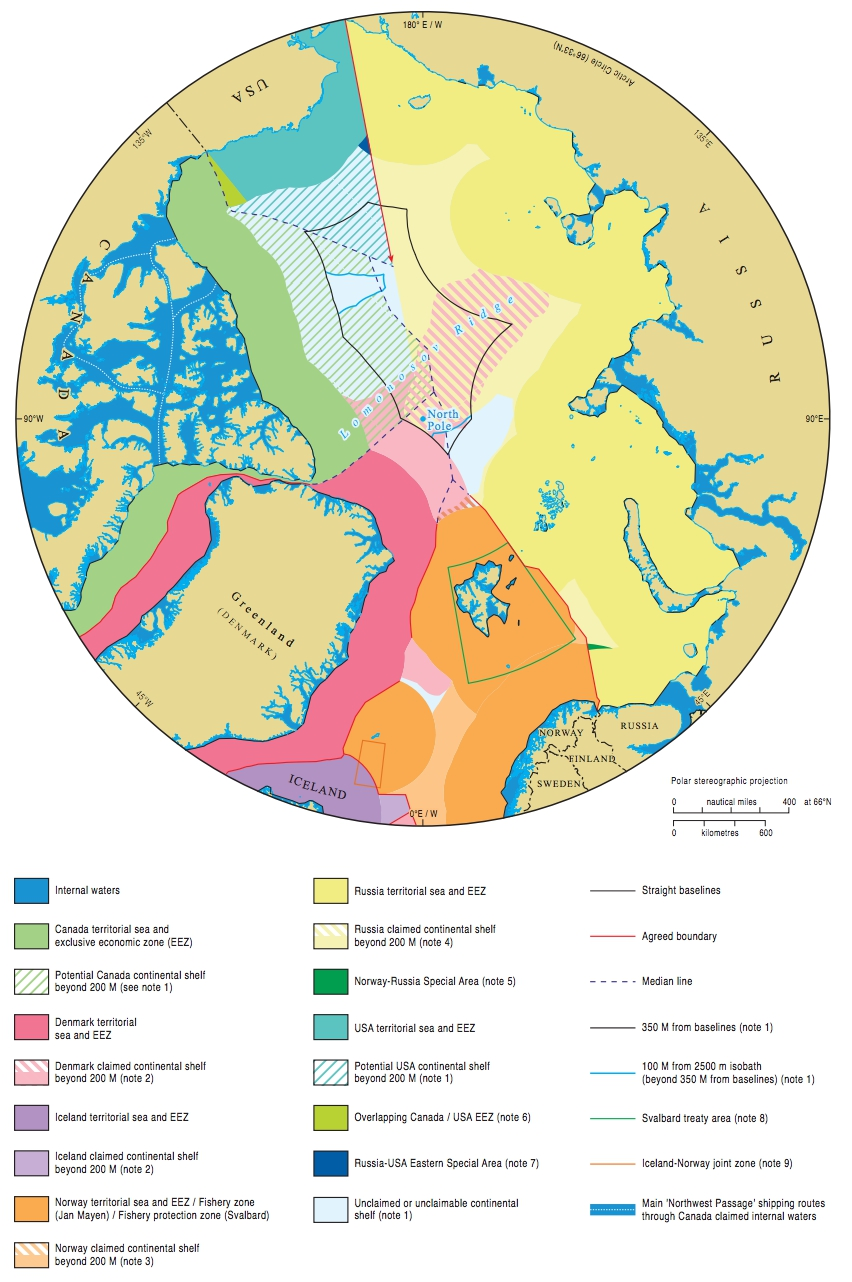 Maritime jurisdiction and boundaries in the Arctic region. Source: IBRU: Centre for Borders Research