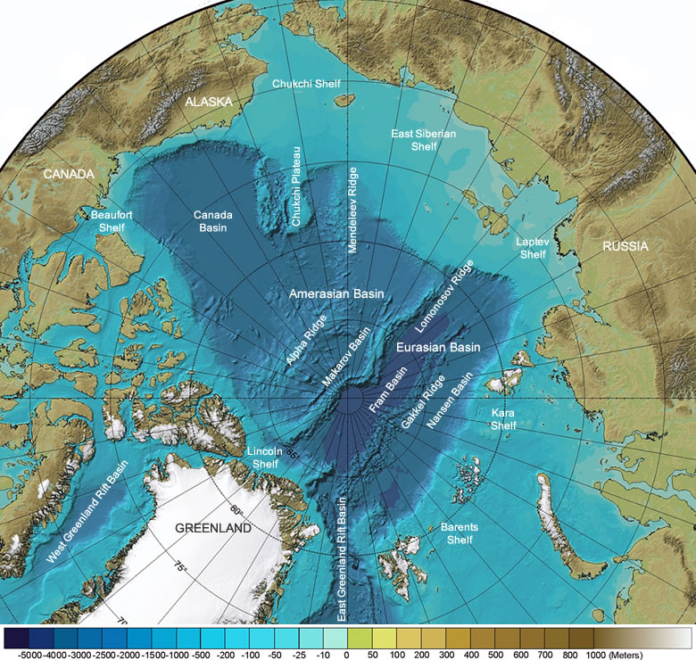 Arctic Ocean seafloor features map major basins, ridges, shelves and bathymetry. Source: geology.com
