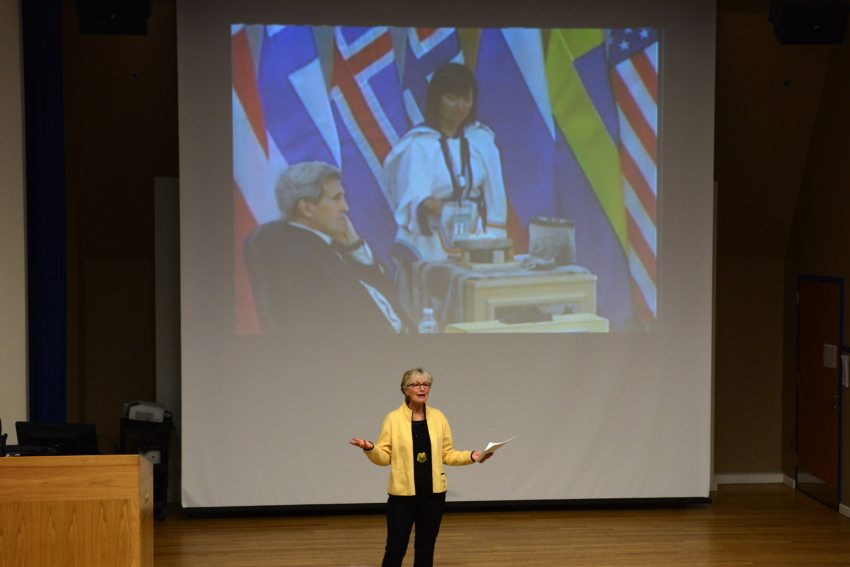 Fran Ulmer welcomes viewers to a live-stream showing of the Arctic Council meeting held in Iqaluit, Canada, on April 24, 2015, at UAA. (Erik Hill / ADN)