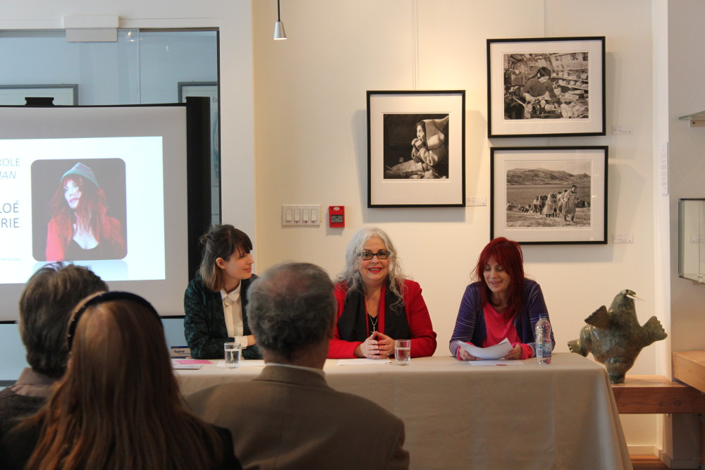 Press conference announcing plans for the Canadian Guild of Crafts 110-year anniversary. Left to right : Karine Gaucher, Michelle Joannette and Chloé Sainte-Marie. (Canadian Guild of Crafts)