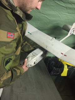The drone was eventually recovered, but heavily marked and damaged. Photo: Forsvaret.no