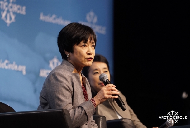 Japan's Ambassador in Charge of Arctic Affairs Kazuko Shiraishi speaks at Arctic Circle Assembly in Reykjavik, Iceland, in October 2015. Photo: Arcticcircle.org