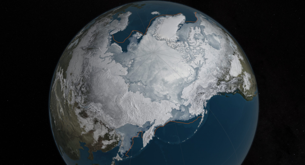 This image provided by NASA shows Arctic sea ice at it maximum, the lowest on record. The winter maximum level of Arctic sea ice shrank to the smallest on record, thanks to extraordinarily warm temperatures, federal scientists said. (NASA/AP/The Canadian Press)