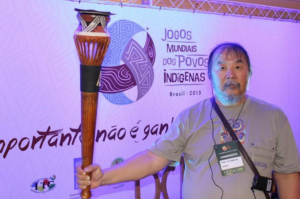 Pavel Sulyandziga, President of the Batani Fund, pictured at World Indigenous Games in Brazil. (via batanifund.org)