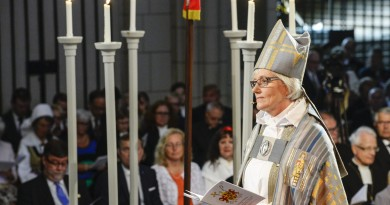 Antje Jackelen, the first female archbishop in the Church of Sweden, is pictured during the installation mass at the Uppsala Cathedral in Uppsala June 15, 2014. Pontus Lundahl/REUTERS/TT News Agency