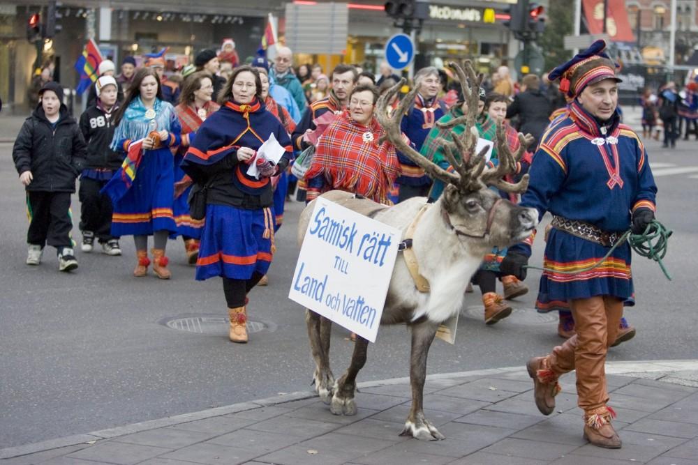 Sami protester, dressed in traditional clothes, walk through downtown Stockholm November 23, 2007. Bertil Ericson/REUTERS/Scanpix