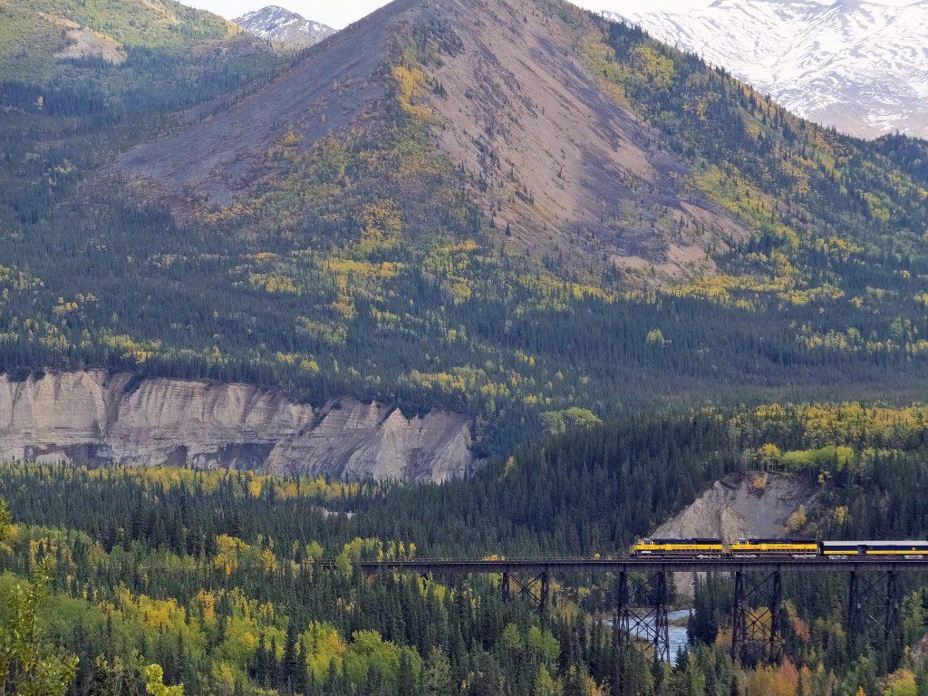 An Alaska Railroad train travels along one of its routes, Thursday, Sept. 3, 2015, in Denali National Park and Preserve, Alaska. Becky Bohrer/AP Photo